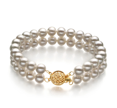 6-7mm AA Quality Freshwater Cultured Pearl Bracelet in Double Strand White