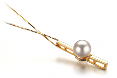 7-8mm AA Quality Japanese Akoya Cultured Pearl Pendant in Johana White
