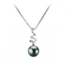 6-7mm AA Quality Japanese Akoya Cultured Pearl Pendant in Greta Black