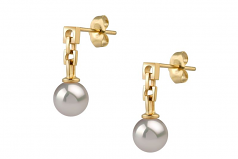 6-7mm AA Quality Japanese Akoya Cultured Pearl Earring Pair in Anya White