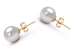 8-9mm AA Quality Japanese Akoya Cultured Pearl Earring Pair in White