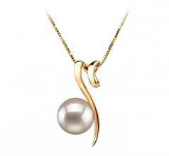 8-9mm AA Quality Japanese Akoya Cultured Pearl Pendant in Dionne White