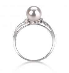 6-7mm AAA Quality Japanese Akoya Cultured Pearl Ring in Andrea White