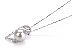 7-8mm AAA Quality Japanese Akoya Cultured Pearl Pendant in Carlin White