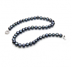 7-8mm A Quality Freshwater Cultured Pearl Necklace in Single Black