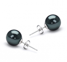 8.5-9mm AAA Quality Japanese Akoya Cultured Pearl Earring Pair in Black