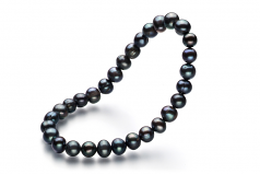 6-7mm A Quality Freshwater Cultured Pearl Bracelet in Bliss Black