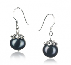 8-9mm A Quality Freshwater Cultured Pearl Earring Pair in Connor Black