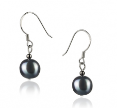 8-9mm A Quality Freshwater Cultured Pearl Earring Pair in Teresa Black