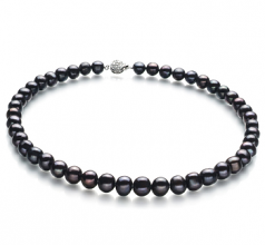 8-9mm A Quality Freshwater Cultured Pearl Necklace in Kaitlyn Black