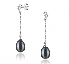 7-8mm AA Quality Freshwater Cultured Pearl Earring Pair in Reese Black