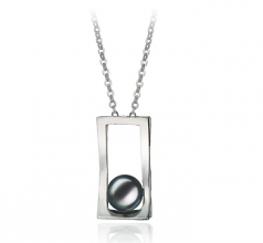 7-8mm AA Quality Freshwater Cultured Pearl Pendant in Athena Black