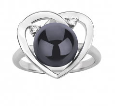 9-10mm AA Quality Freshwater Cultured Pearl Ring in Katie Heart Black