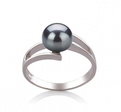 7-8mm AAA Quality Freshwater Cultured Pearl Ring in Jenna Black