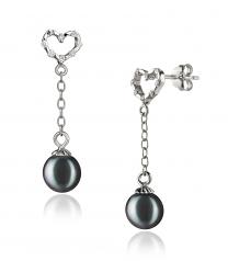 6-7mm AAAA Quality Freshwater Cultured Pearl Earring Pair in Hedda Black