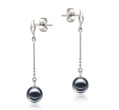 6-7mm AAAA Quality Freshwater Cultured Pearl Earring Pair in Misha Black