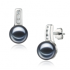 7-8mm AAAA Quality Freshwater Cultured Pearl Earring Pair in Valery Black