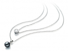 7-8mm AAAA Quality Freshwater Cultured Pearl Necklace in Ramona Black