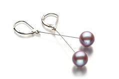 8-9mm AA Quality Freshwater Cultured Pearl Earring Pair in Amy Lavender