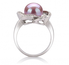 9-10mm AA Quality Freshwater Cultured Pearl Ring in Fiona Lavender