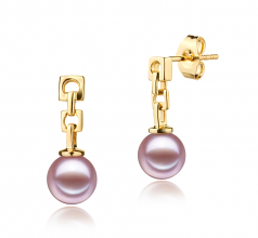 6-7mm AAAA Quality Freshwater Cultured Pearl Earring Pair in Anya Lavender