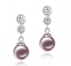 7-8mm AAAA Quality Freshwater Cultured Pearl Earring Pair in Colleen Lavender