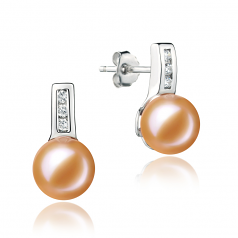 7-8mm AAAA Quality Freshwater Cultured Pearl Earring Pair in Valery Pink