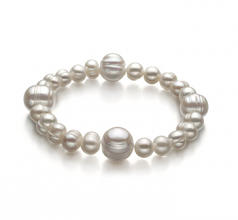 6-11mm A Quality Freshwater Cultured Pearl Bracelet in Irina White