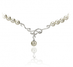 6-10mm AA Quality Freshwater Cultured Pearl Necklace in Almira White
