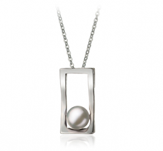 7-8mm AA Quality Freshwater Cultured Pearl Pendant in Athena White