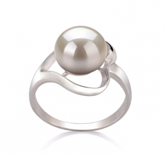 9-10mm AA Quality Freshwater Cultured Pearl Ring in Sadie White