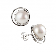 9-10mm AA Quality Freshwater Cultured Pearl Set in Kelly White