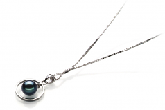 6-7mm AA Quality Japanese Akoya Cultured Pearl Pendant in Trinity Black