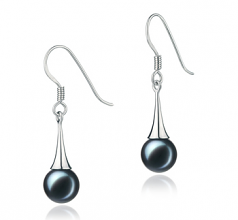 7-8mm AA Quality Japanese Akoya Cultured Pearl Earring Pair in Sandra Black