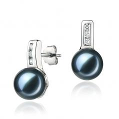 7-8mm AA Quality Japanese Akoya Cultured Pearl Earring Pair in Valery Black