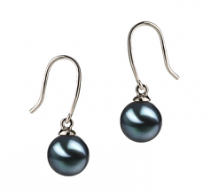 7-8mm AA Quality Japanese Akoya Cultured Pearl Earring Pair in Yoko Black