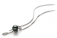 7-8mm AA Quality Japanese Akoya Cultured Pearl Pendant in Jennifer Black