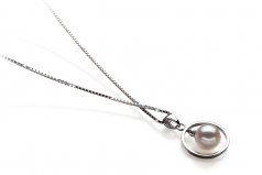 6-7mm AA Quality Japanese Akoya Cultured Pearl Pendant in Trinity White