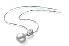 7-8mm AA Quality Japanese Akoya Cultured Pearl Pendant in Daria White