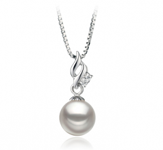 7-8mm AA Quality Japanese Akoya Cultured Pearl Pendant in Zalina White