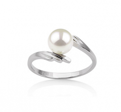 6-7mm AAA Quality Japanese Akoya Cultured Pearl Ring in Daron White