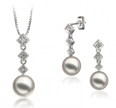 8-9mm AAA Quality Japanese Akoya Cultured Pearl Set in Rozene White