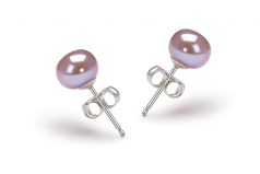 6-7mm AA Quality Freshwater Cultured Pearl Earring Pair in Lavender