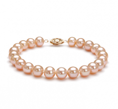 7-8mm AA Quality Freshwater Cultured Pearl Bracelet in Pink