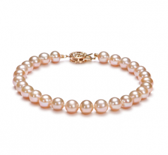 6-7mm AAA Quality Freshwater Cultured Pearl Bracelet in Pink