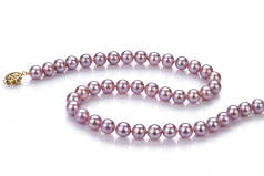 7.5-8mm AAA Quality Freshwater Cultured Pearl Necklace in Lavender