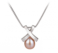 7-8mm AA Quality Freshwater Cultured Pearl Pendant in Empress Pink
