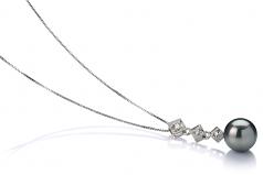 8-9mm AAA Quality Tahitian Cultured Pearl Pendant in Rozene Black