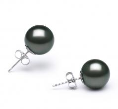 10-11mm AA Quality Tahitian Cultured Pearl Earring Pair in Black