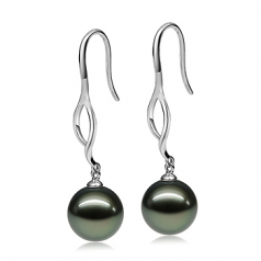 10-11mm AAA Quality Tahitian Cultured Pearl Earring Pair in Olivia Dangle Black